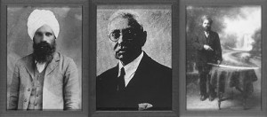 Ghadar party leaders Sohan Singh Bhakna, Mohamed Barakatullah, Bhagwan Singh, c. 1915 Credit: UC Berkley