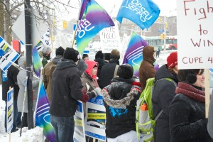 Workers and students stage an information picket on Feb. 5  Credit: Sam Heaton