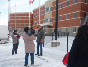 Elder Albert Dumont speaks at February 11 rally outside the Brockville Mental Health Centre. Photo by Julie Comber