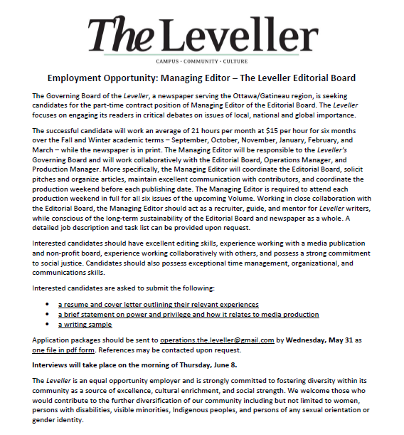 Employment Opportunity: Managing Editor U2013 The Leveller Editorial Board