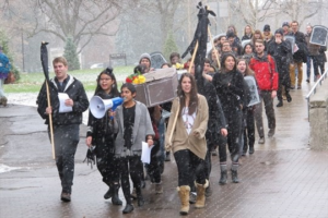 """University of Guelph students hold """"funeral for education"""" rally against Summerlee's program cuts, November, 2014 Credit: Joanne Shuttleworth"""