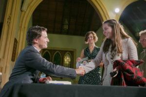 "The author meets Trudeau at his Ottawa book launch in 2014, a couple months after being diagnosed with PTSD. A year later she voted for him, ""partly because of his feminist beliefs."" Photo: Adam Scotti"
